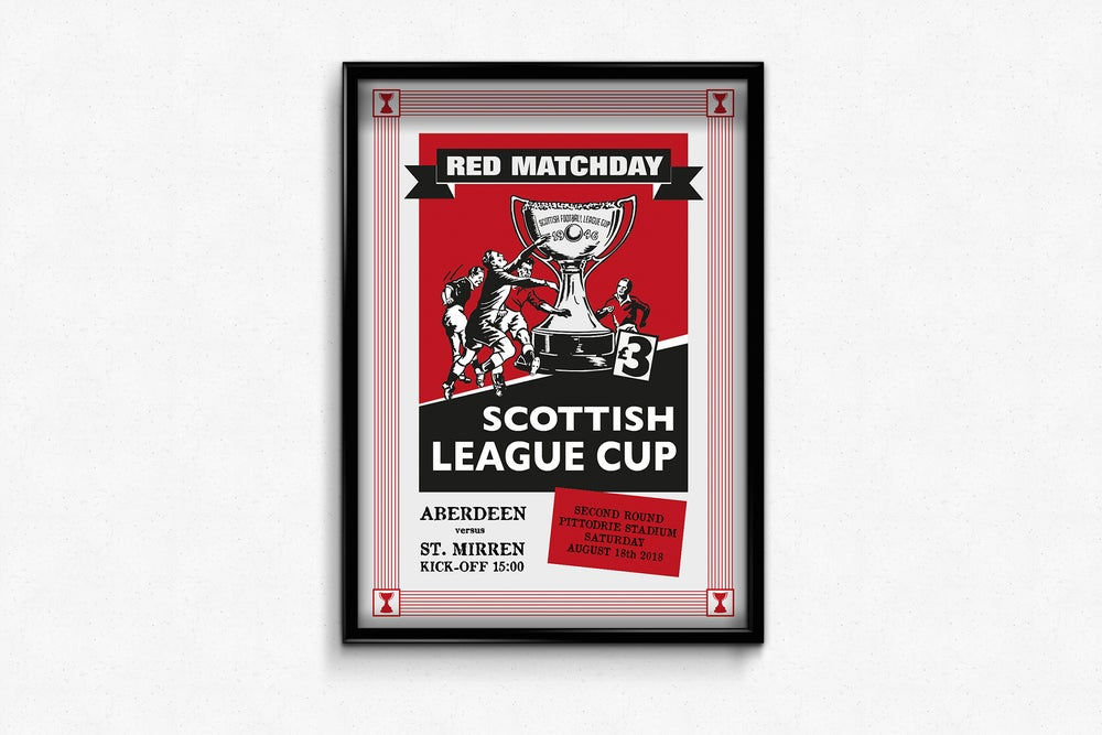 Image of Aberdeen FC Red Matchday Print - Aberdeen v St Mirren League Cup