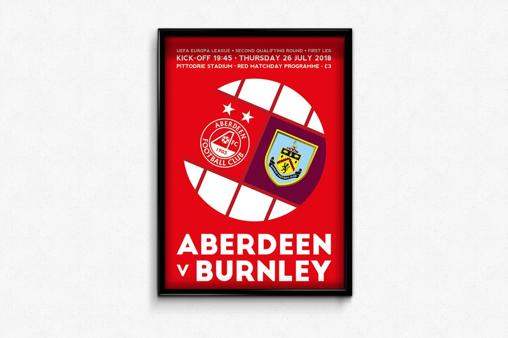 Image of Aberdeen FC Red Matchday Print - Aberdeen v Burnley