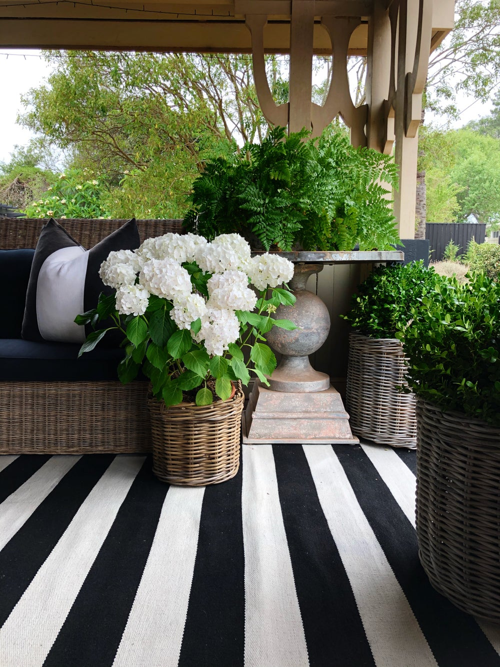 Image of Black and White Outdoor Rug