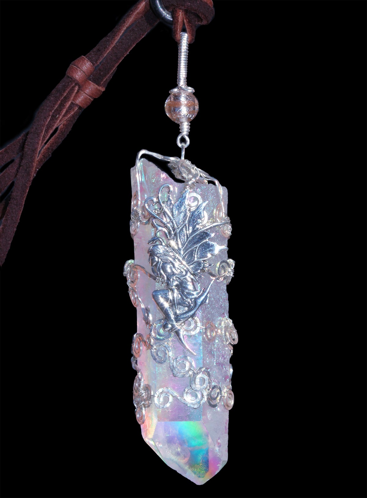 Statement Piece Angel Aura Quartz Crystal Fairy Filigree Pendant