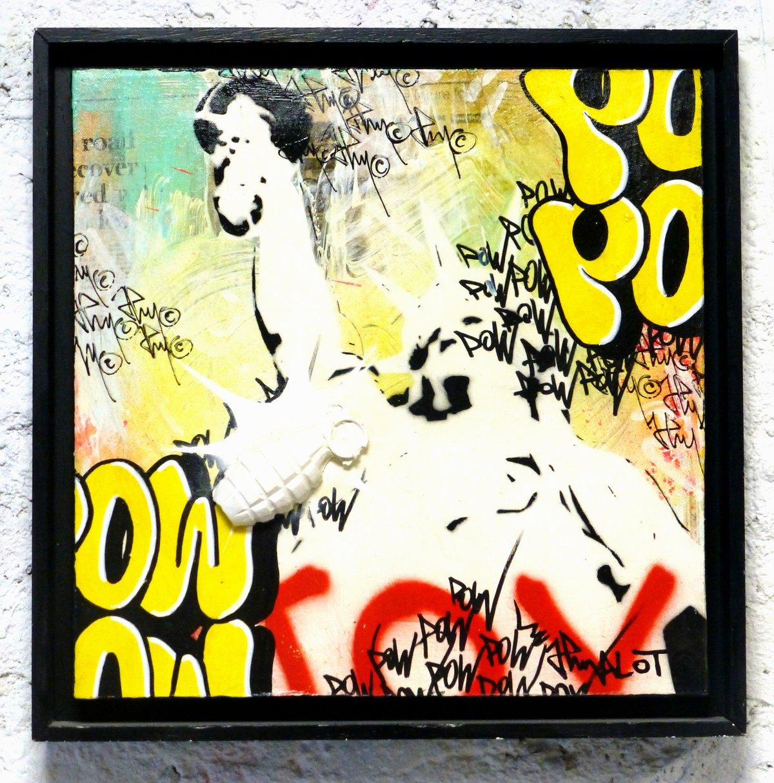 Image of GRENADE POW STREET ART JP MALOT 40x40 cm
