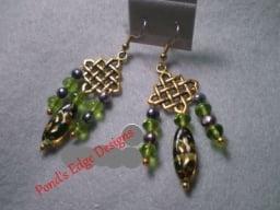 """Green """"Waffle"""" Earrings"""