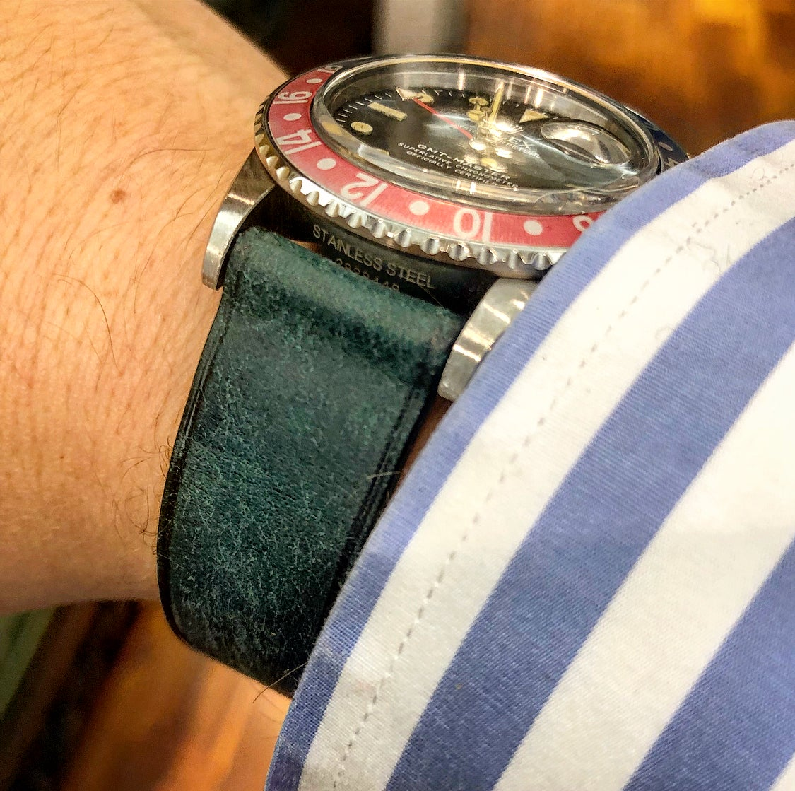 Image of SAMPLE SALE Distressed light blue calfskin watch strap