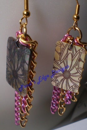 Image of Pink and Gold Chain Earrings