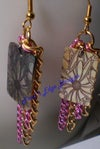 Pink and Gold Chain Earrings