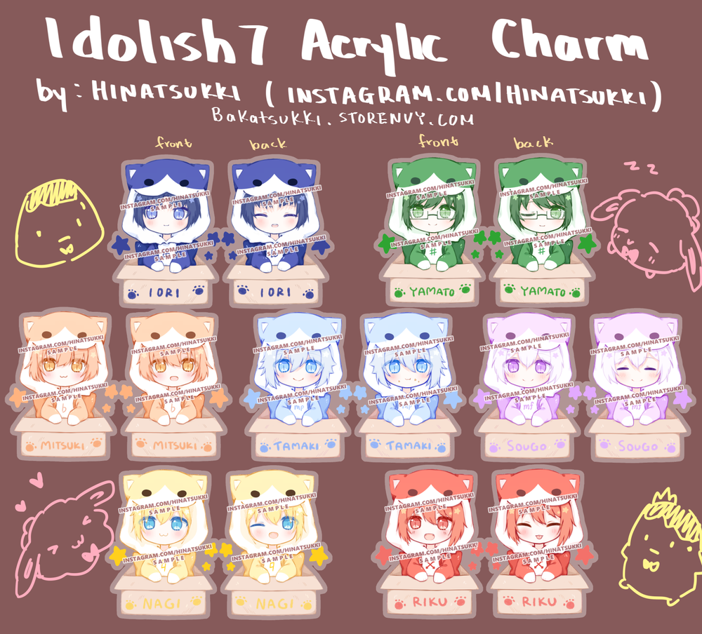 Image of Idolish7 Kitty Keychains (2.5inch double sided)