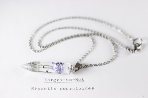 Image of Purple Forget-Me-Not (Myosotis sylvatica) - Small Crystalline Necklace #5