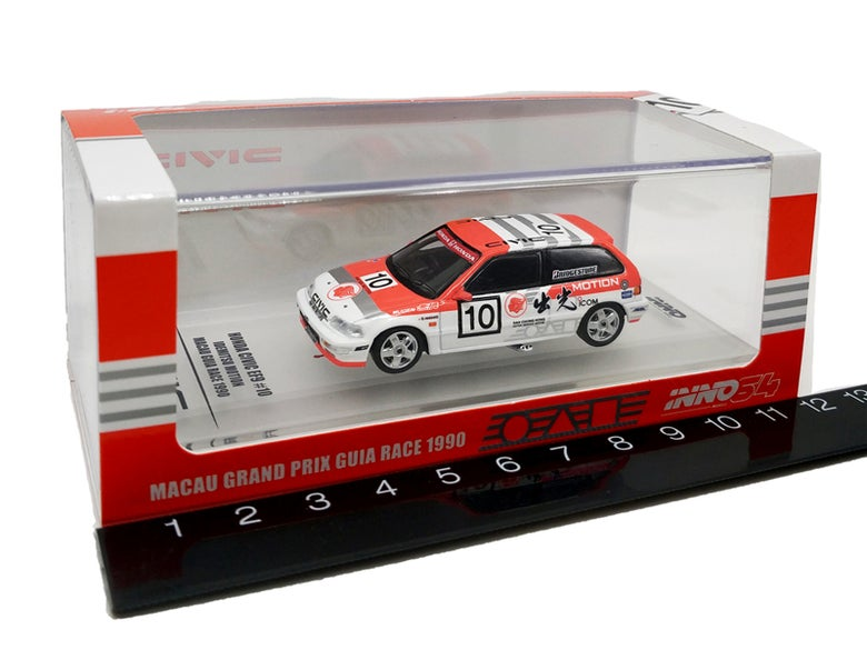 Image of  Honda Civic EF9 Grade A #10 IDEMITSU Macao 1990 Race Die cast Model Car INNO64 1:64