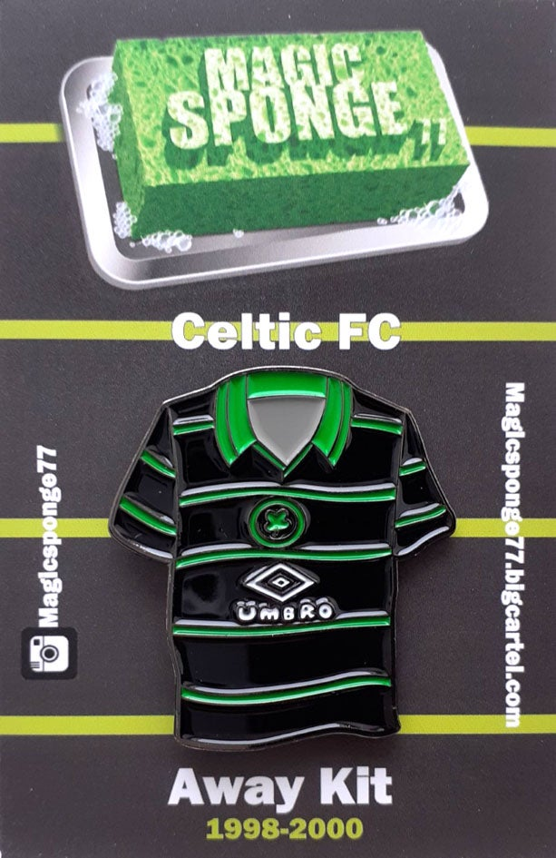 Image of Out Now Celtic FC Away Kit 1998-2000 pin.