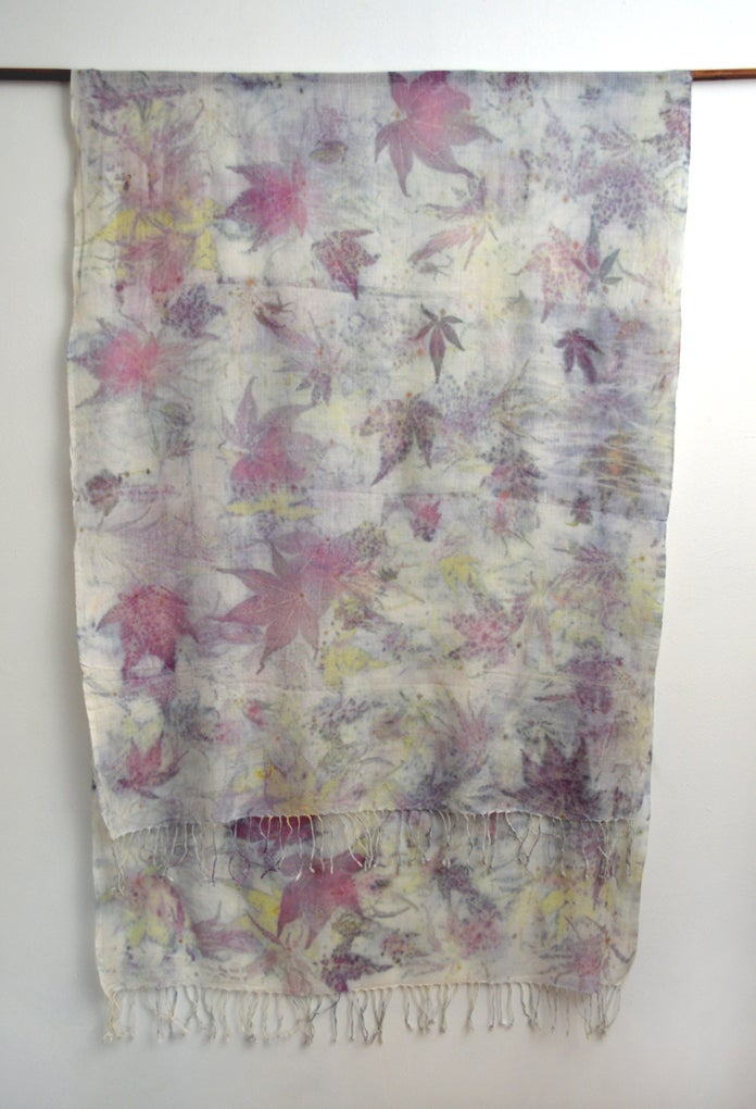 Image of eco printed cashmere shawl