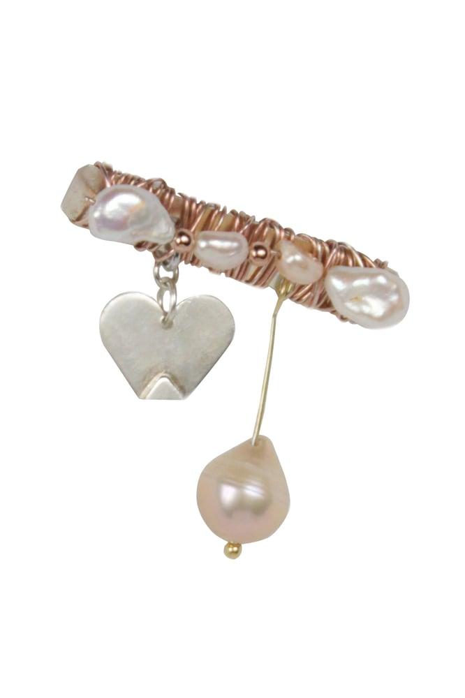 Image of Broche Liefde Met Een Hoek Af - zilver met rosé vergulde details