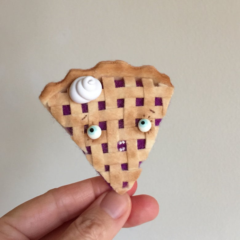 Image of Toothy Blueberry Pie Ornament or Brooch