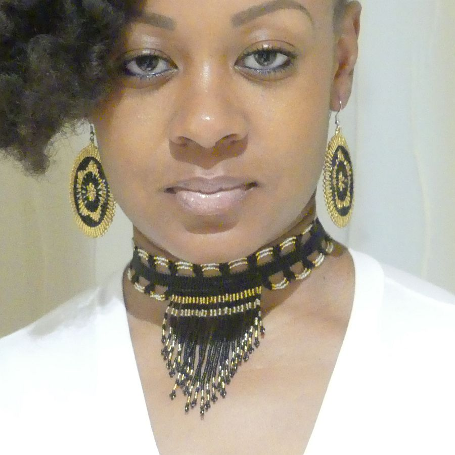 Image of Nubian Queen Fringed Beaded Choker