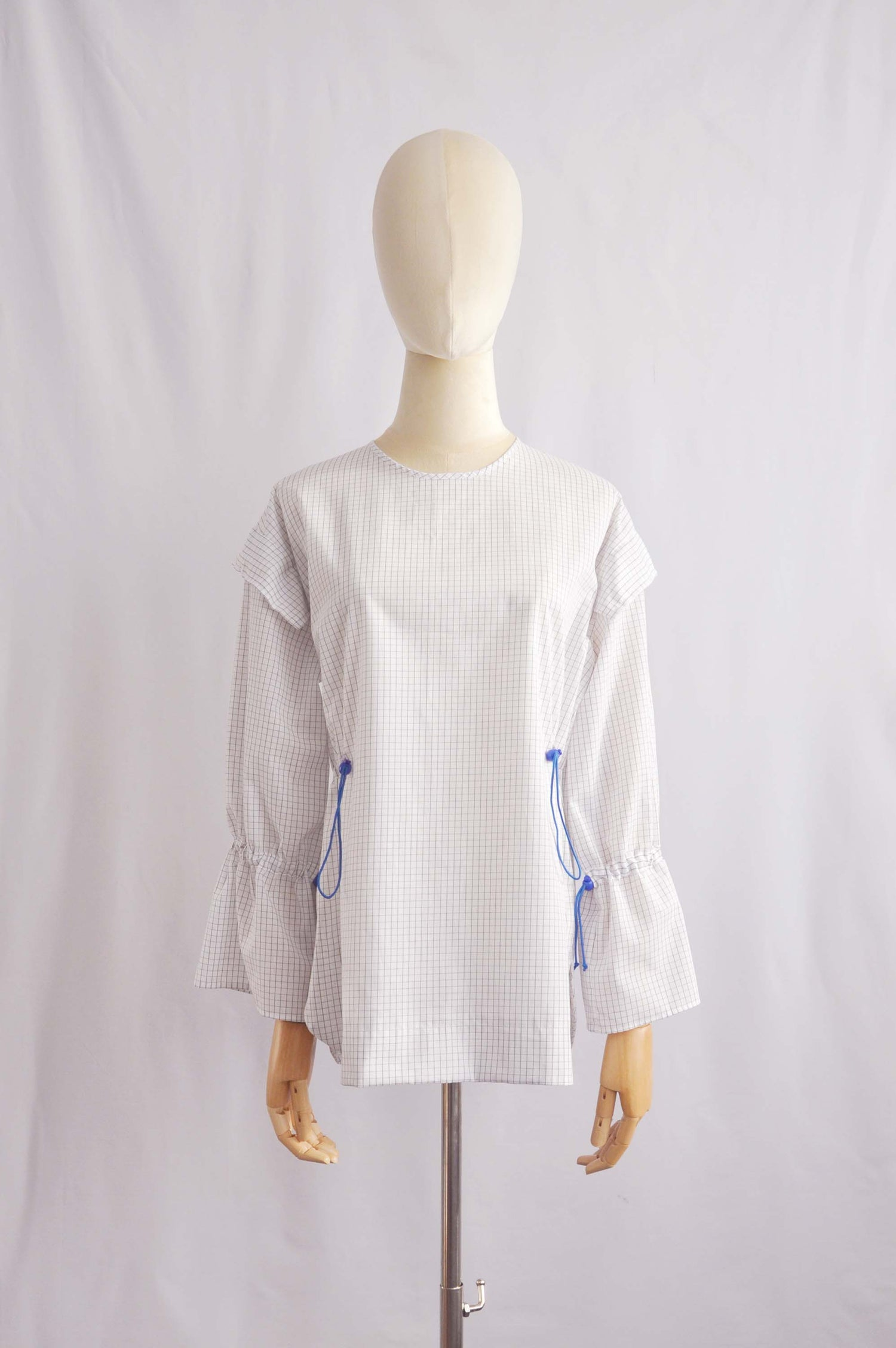 Image of CHECK GATHERED BLOUSE