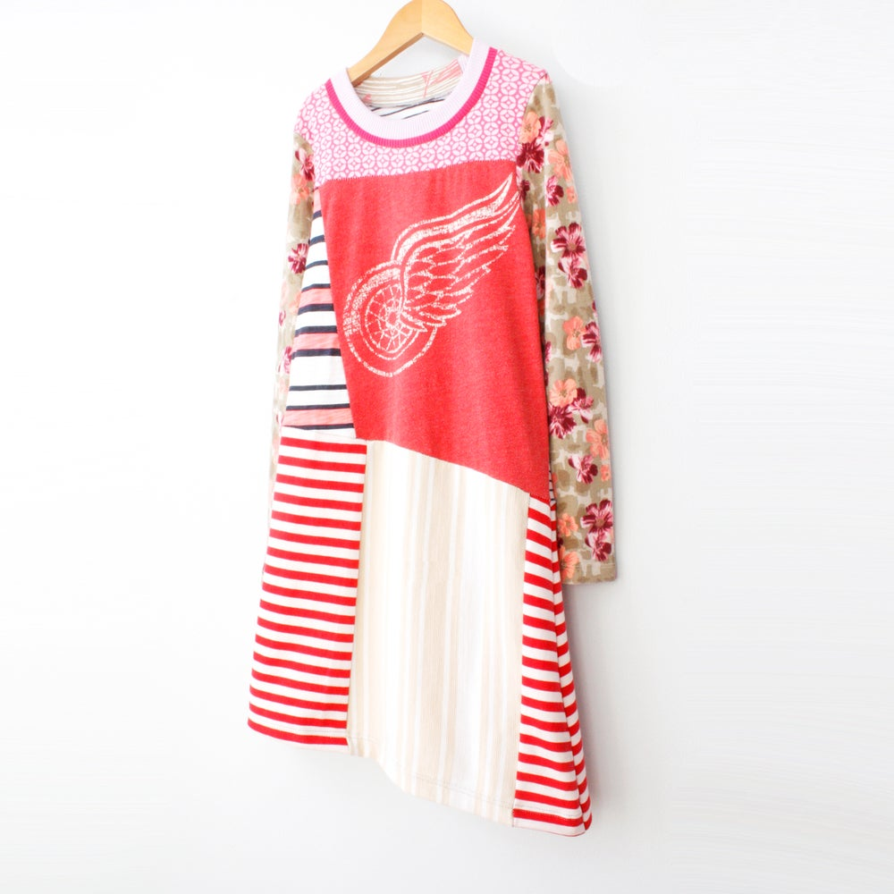 Image of rad redwings 8/10 asymmetrical Detroit hockey nhl team ice long sleeve tunic stripe dress