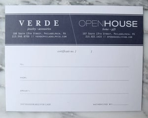 Image of Open House & Verde Gift Certificate