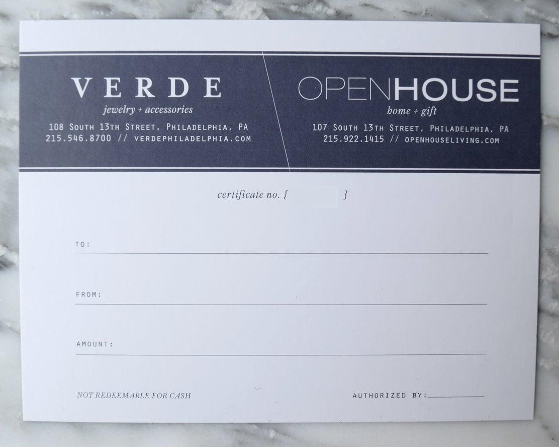 $50 Open House & Verde Gift Certificate