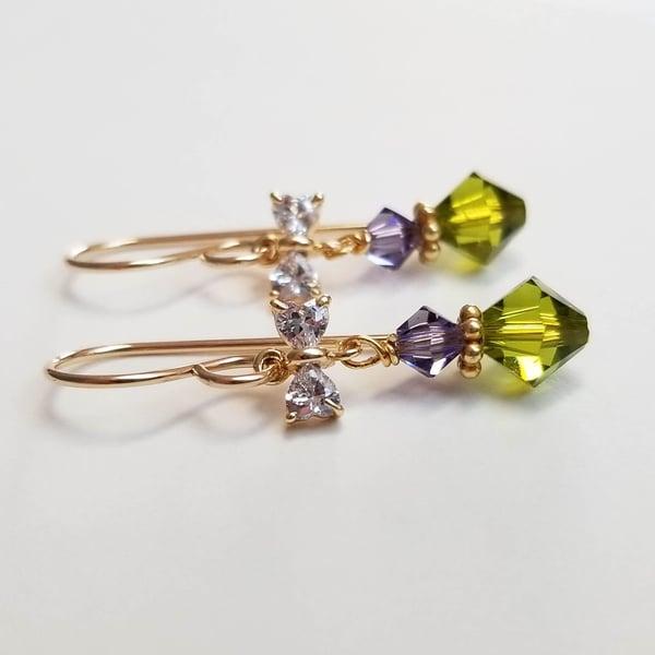 Image of Olivine + Lavender Bow Earrings