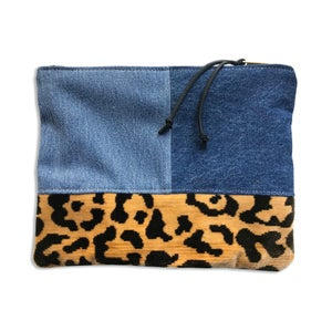 Image of LEOPARD & DENIM BLOCK POUCH - MEDIUM
