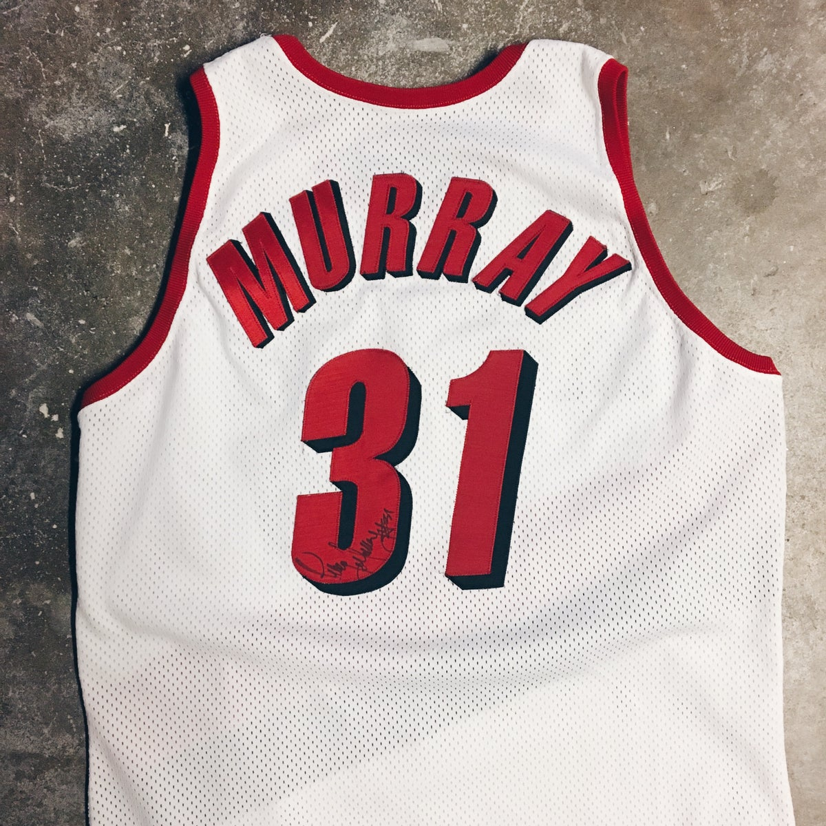 Image of Original 94/95 Game Worn Champion Tracy Murray Blazers Jersey.