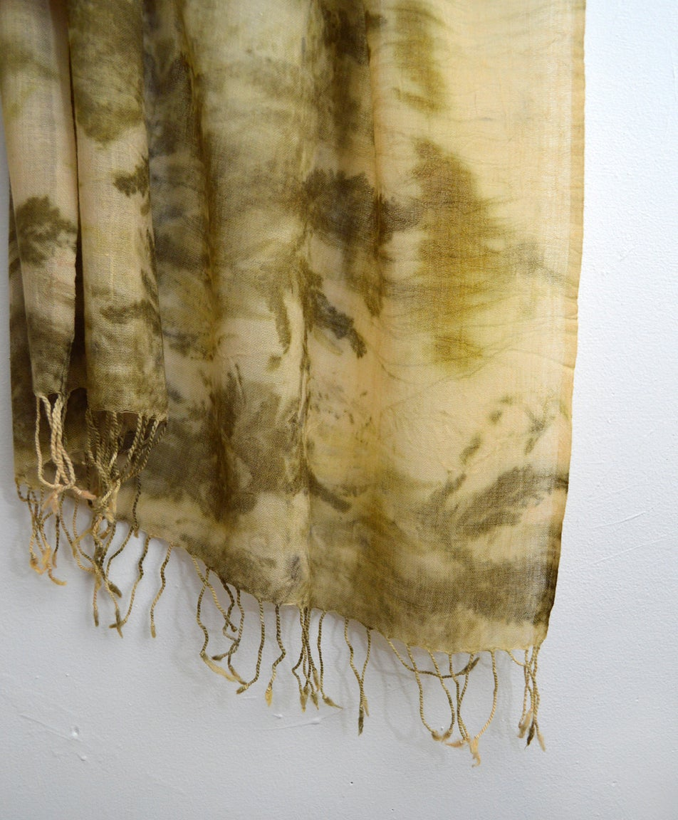 Image of eco print cashmere shawl