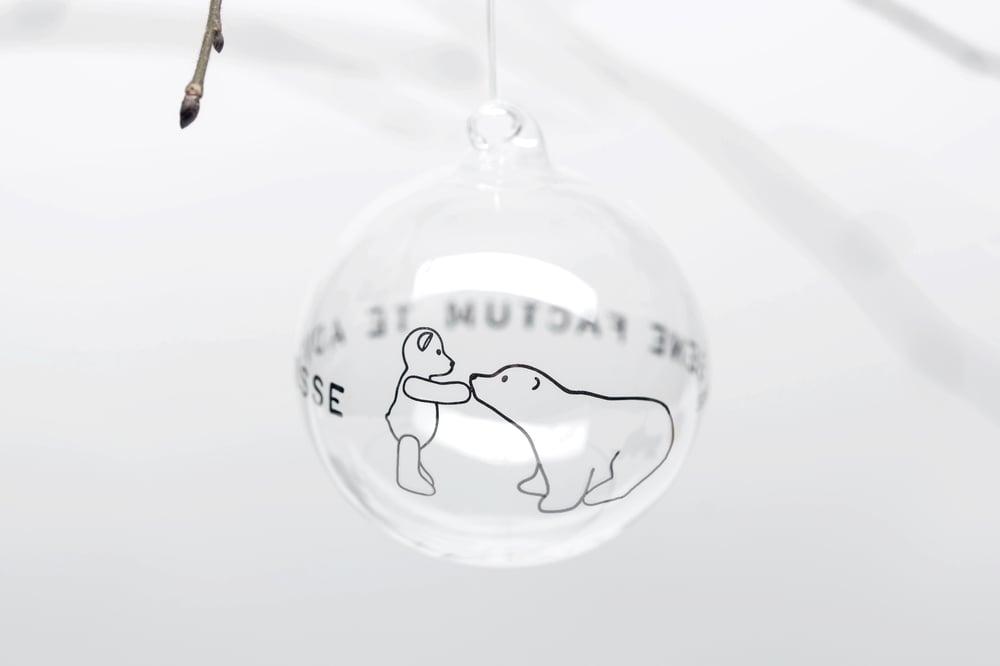 Image of VERBA 8cm Christmas tree ball with platinum inscription in Latin