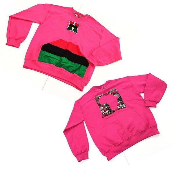 Image of 1 of a kind pink RBG cut n sew sweatshirt