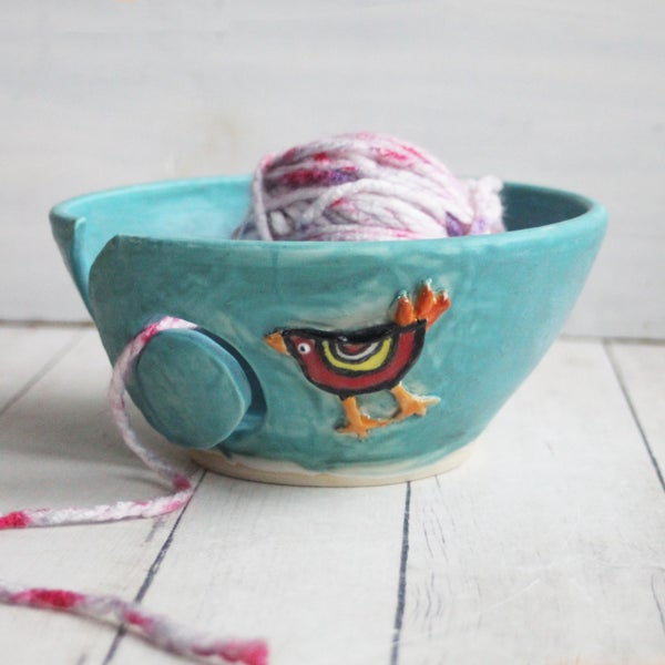 Image of Yarn Bowl, Turquoise Knitting Bowl with Whimsical Chicken, Handmade in USA