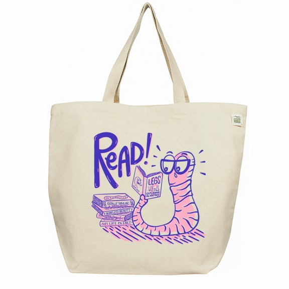 Image of Bookworm Large Tote Recycled Cotton Bag
