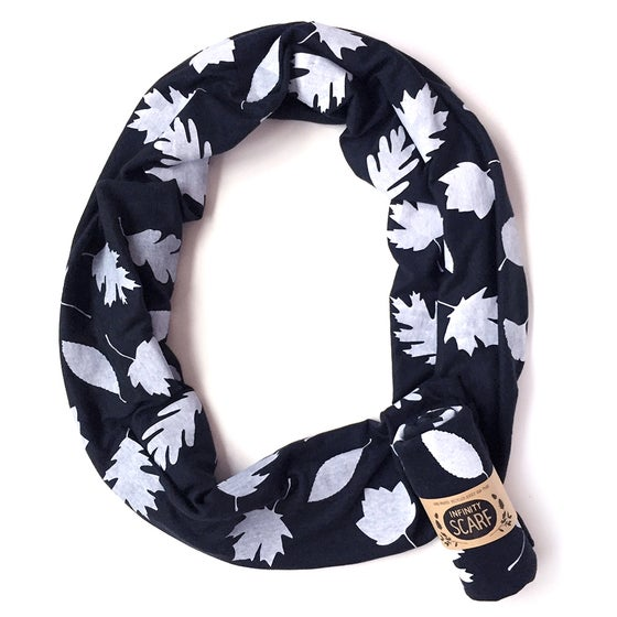 Image of Black Autumn Leaves Scarf