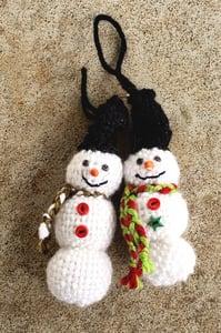 Image of Snowman Ornament, handwoven, handmade