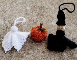 Image of Halloween Ornament Trio, handwoven
