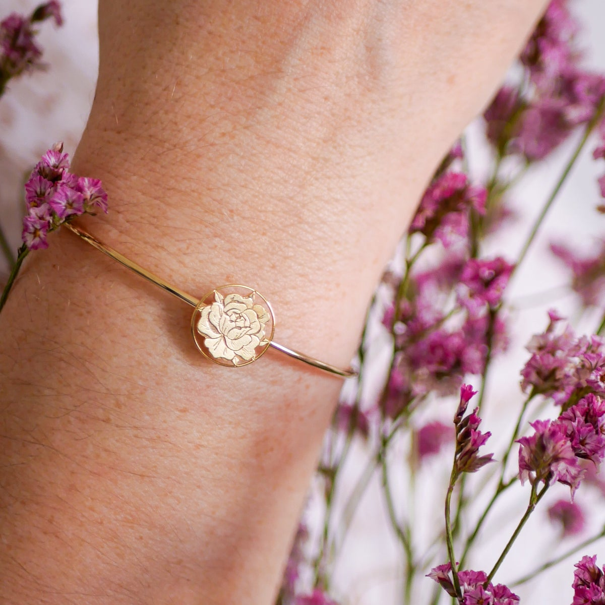 Image of Bracelet Jonc PEONIE IN LOVE Or/Argent