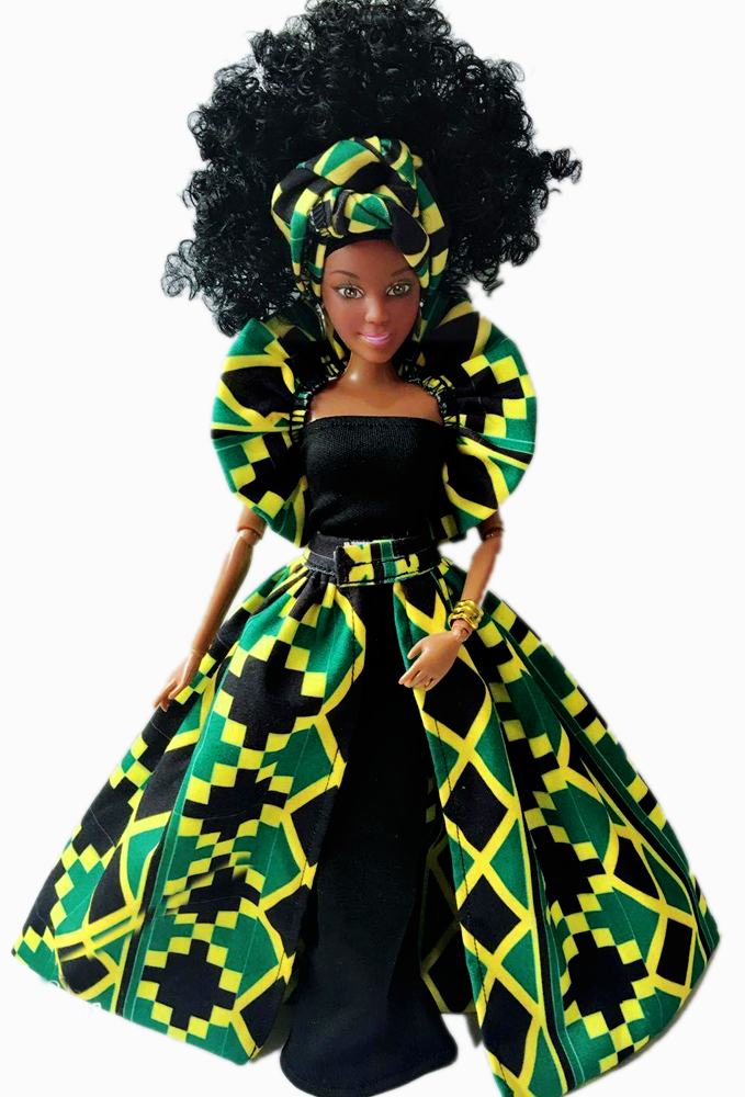 Image of Black African Doll Nana Maroon