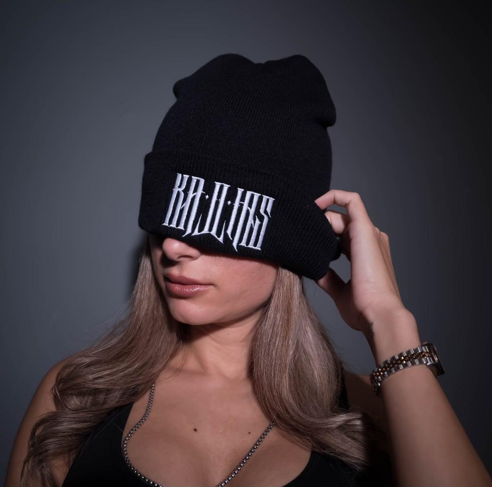 Image of Kallias Beanie White on Black