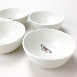 Image of rustic bowls, set of four, ivory with butterflies