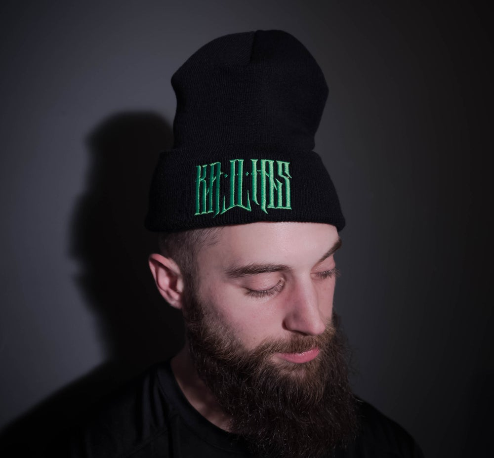 Image of Kallias Beanie Green on Black