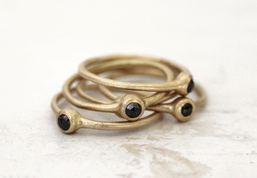 Image of Black diamond stacking rings. Connect the dots. Pie.
