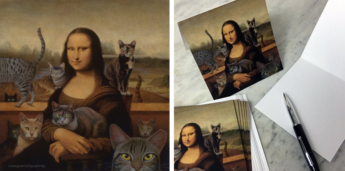 Image of Mona With Cats note cards