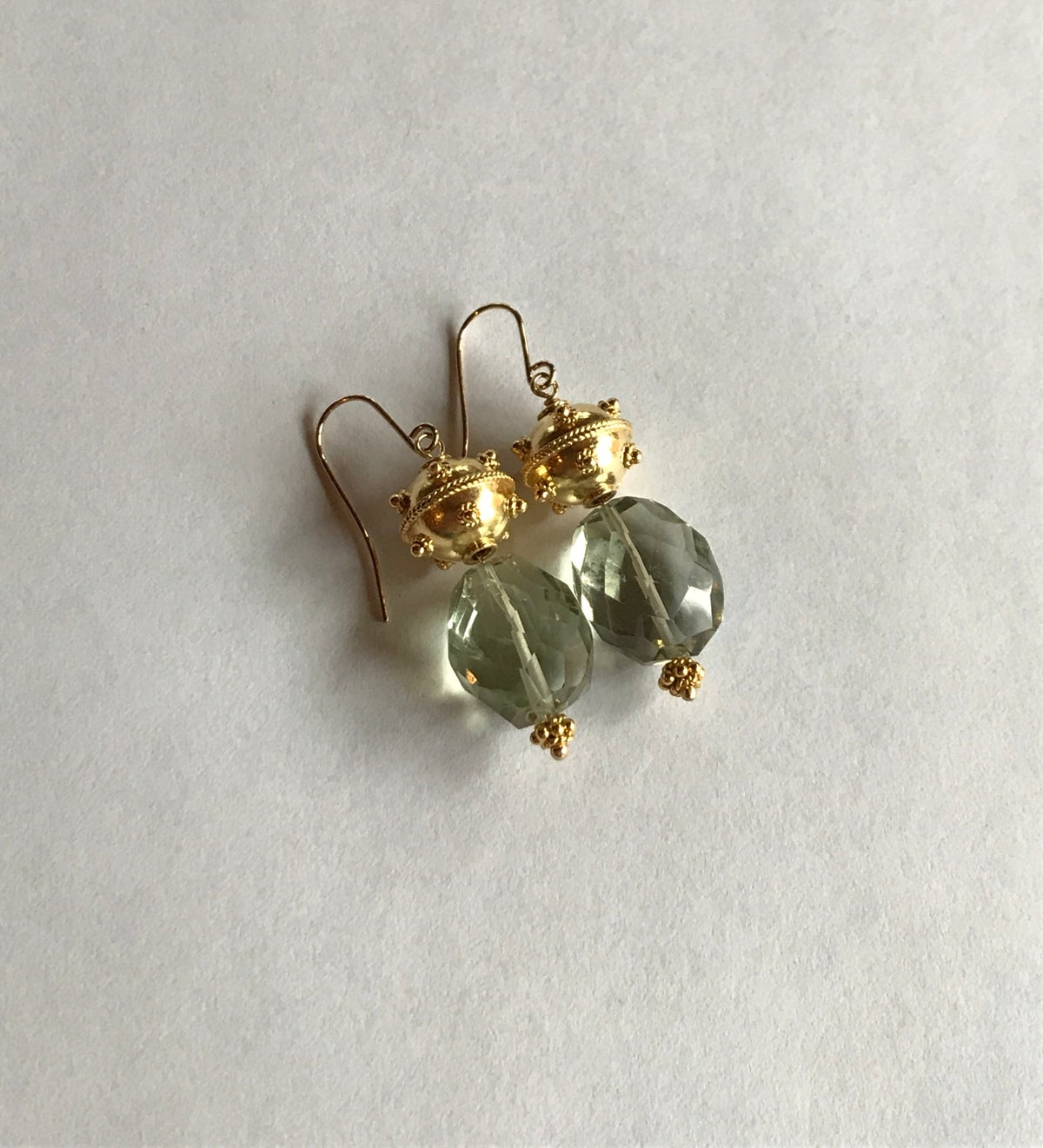 Green Amethyst and Gold Earrings