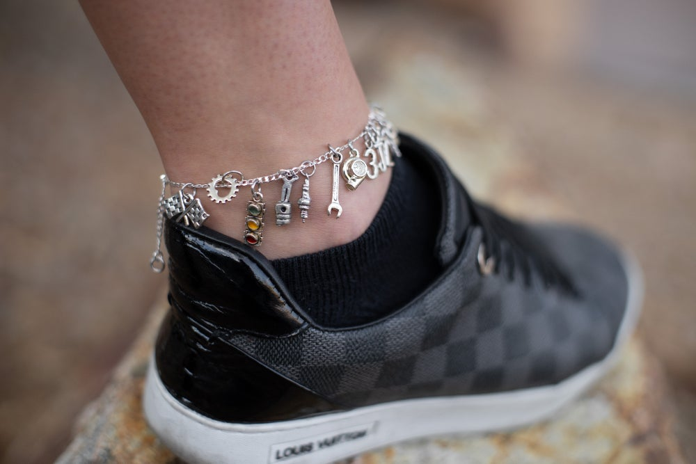 Image of Sterling Silver Car Part Ankle Bracelet