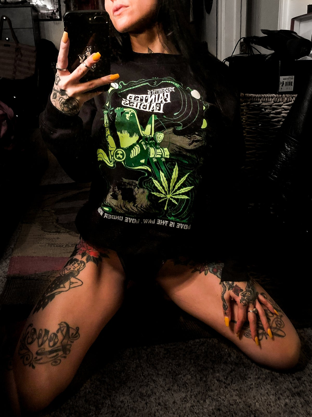 Image of LOVE IS THE LAW BLACK & GREEN CREWNECK