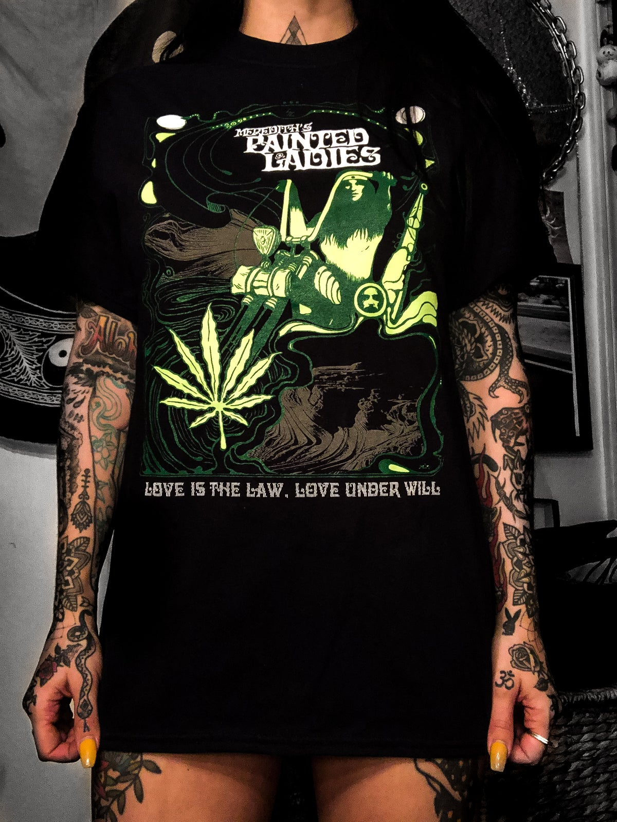 Image of LOVE IS THE LAW~LOVE UNDER WILL BLACK & GREEN TEE