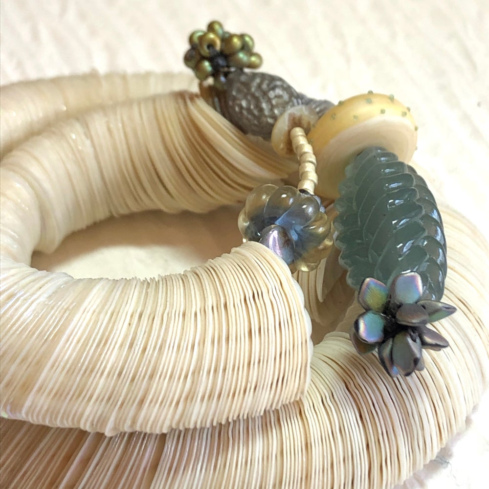Image of Antique 'Shell' Wrap Bracelet/Ivory~Sea Green