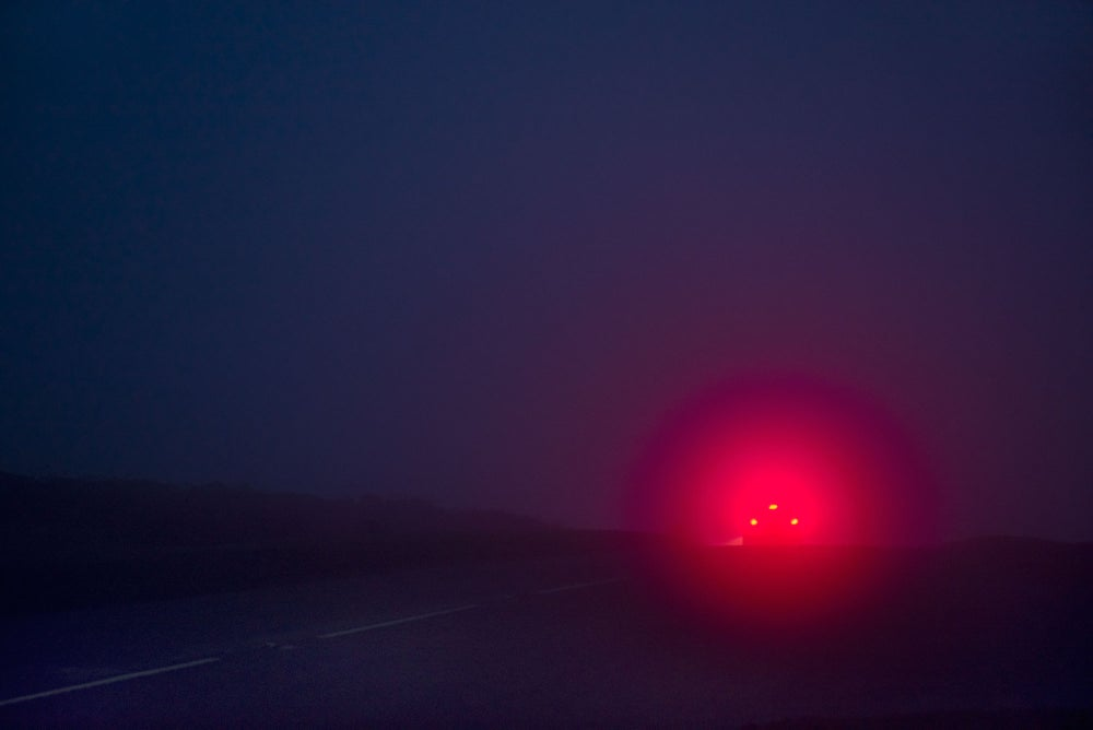Image of DARTMOOR, RED LIGHTS IN THE MIST
