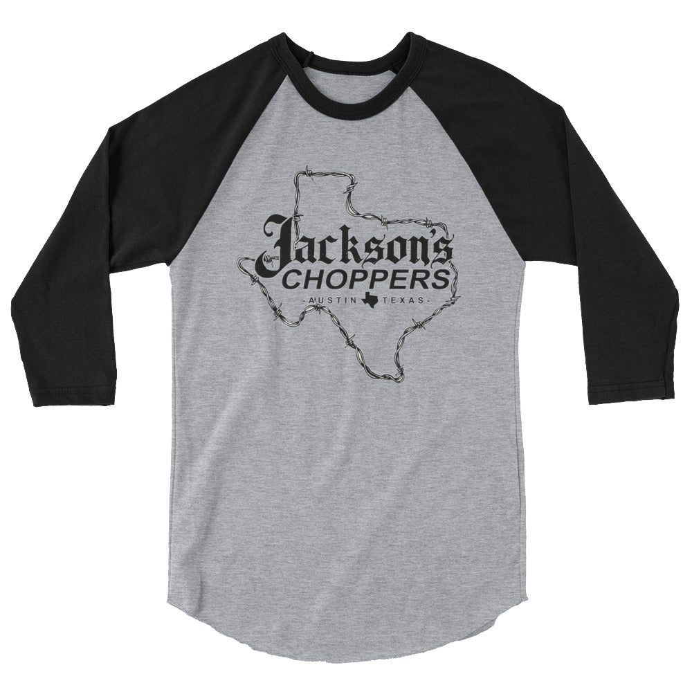 Image of 3/4 sleeve shirt black/grey Texas barbed wire