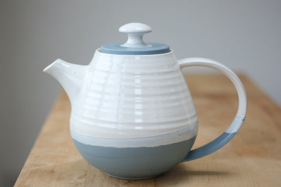 Image of Two-Tone Teapot in Denim Blue