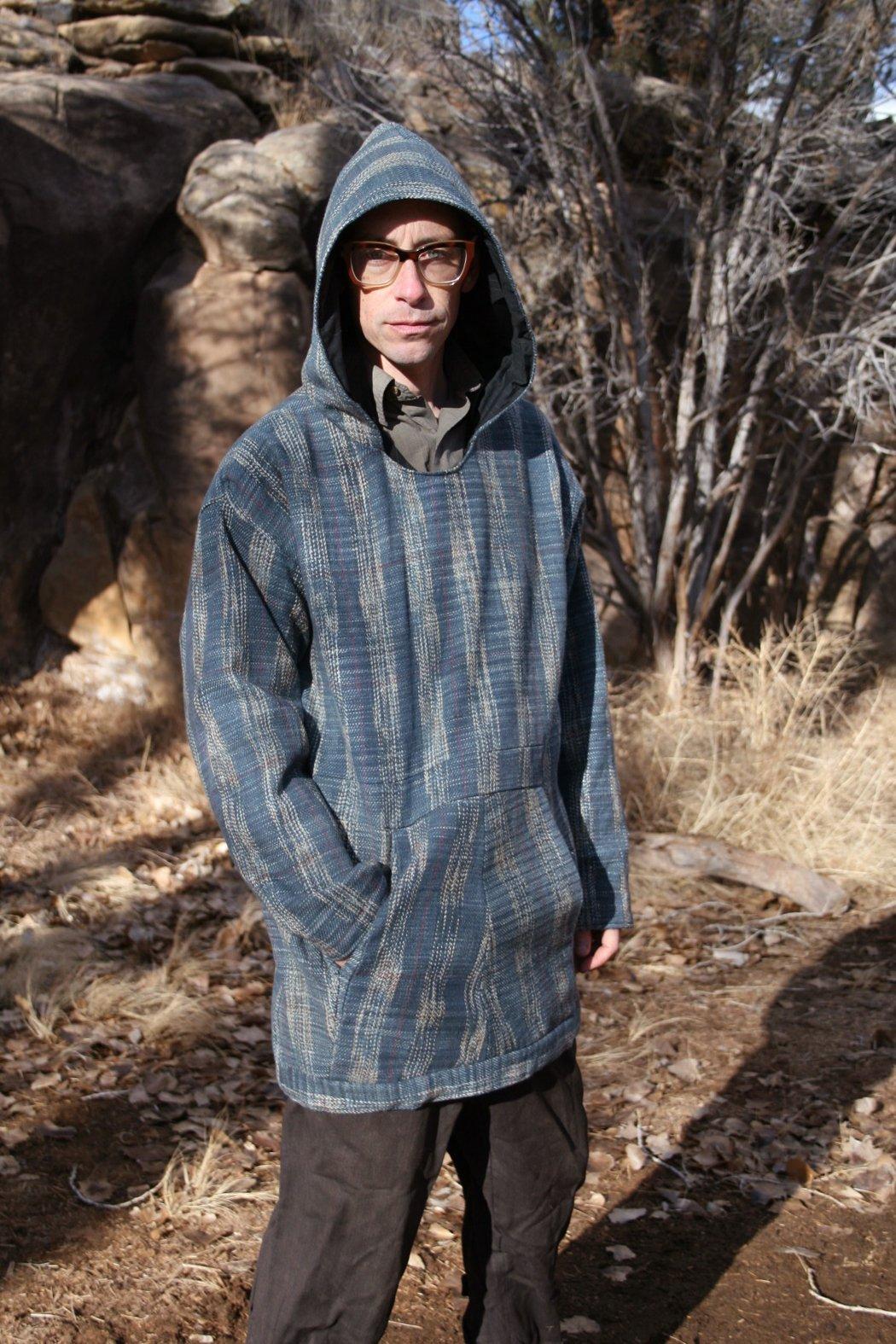 Image of Charcoal Ikat Plaid Hoodie