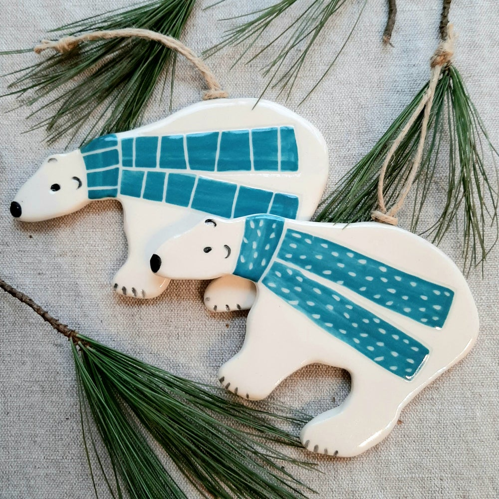 Image of Polar Bear Ornaments Turquoise Scarf