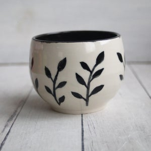 Image of Black and White Botanical Yunomi Cup, Hand Brush Work Pottery Cup, Made in USA